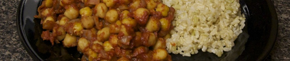 Chana Massala, served with rice.